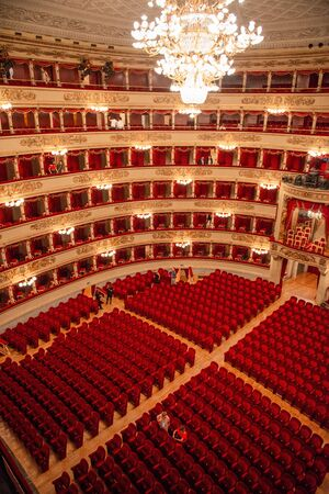 Milan Italy 14 July 2019: Teatro alla scala. Considered one of the most prestigious theaters in the billboards of the major theaters in the .