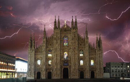 Milan Cathedral with lightning at night