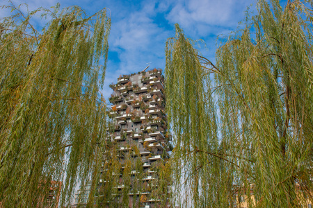 Milan Italy 4 December 2019:Bosco Verticale is a complex of palaces and the presence of more than two thousand tree species, including shrubs and tall trees, on the terraces Редакционное