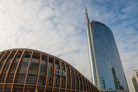 Milan Italy 4 December 2019:Piazza Gae Aulenti represents the new face, symbol of the city that changes and looks to the future.