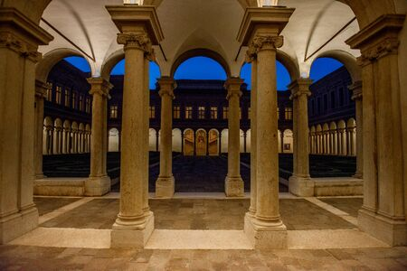 Venice Italy 26 October 2019: Palladian cloister on San Giorgio island in Venice