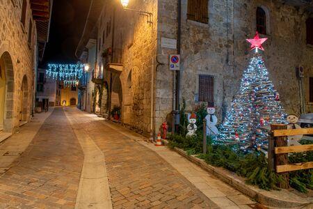 Serina Bergamo Italy December 25 2019: Street of the ancient village of Serina illuminated for the Christmas holidays
