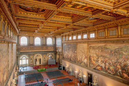 Florence Italy 23 February 2020: Interior of the Palazzo Vecchio seat of the Florence city council with its wonderful works of ancient art