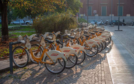 Milan Italy 29 October 2014: Bicycles available to citizens for travel in the city of Milan