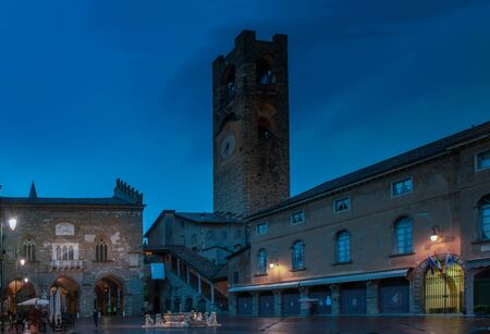 Bergamo old square at the end of the day