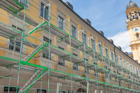 Munich Germany July 29 2020: Scaffolding for building renovation in Munich city center