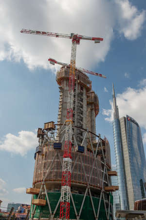 Milan italy 8 September 2020: Construction of a new tower that will become the library of the forest in the redevelopment project of the Isola district in Milan