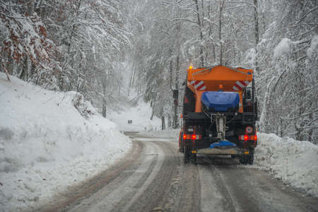Snow clearing in the mountain road