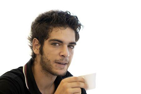 beauty boy at coffee break after work Stock Photo