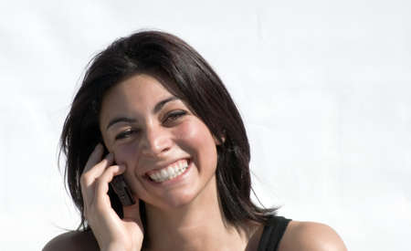 joy on the phone Stock Photo