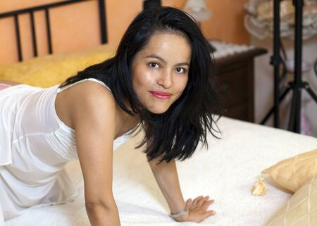 hair blacks: beautiful woman in her underwear to bed