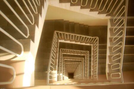 ashram: stairs at the hostell of Amma�s Ashram, India