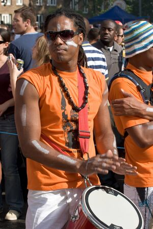 floats: London, England, 2007 - A samba drummer in the Notting Hill Carnival
