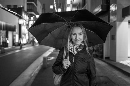 Mädchen mit Regenschirm in Kagoshima Lizenzfreie Bilder