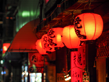 red lanterns in Kyoto at night