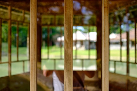 wooden elements with defocus Stock Photo