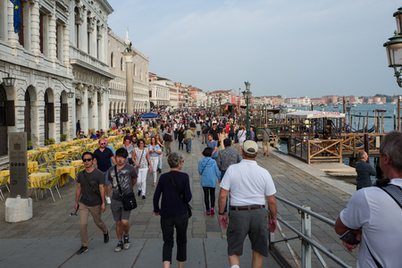 Venice - October 04: Large amounts of tourists visit Venice on October 04, 2017 in Venice