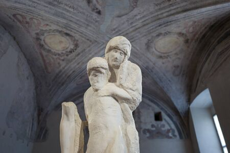 Milan - September 28: The unfinished statue of Michelangelo in the Pieta Rondandini on September 28, 2017 in Milan Editorial