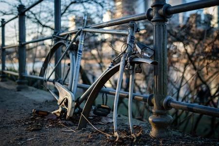 Frankfurt - January 21: Broken bike with stolen parts in front of skyline on January 21, 2017 in Frankfurt