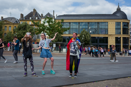 Metz, France - June 17: Unidentified people celebrate at the Gay Pride parade on June 17, 2017 in Metz, France