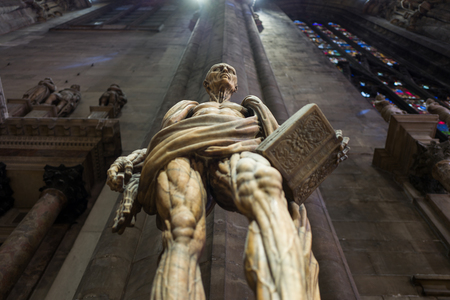 Milan, Italy - September 27: The famous Saint Bartholomew statue inside Milan Cathedral on September 27, 2017 in Milan, Italy