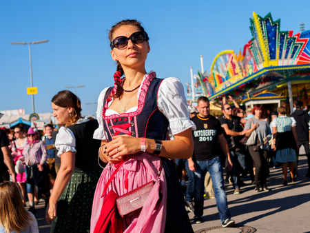 Munich, Germany - September 21: Unidentified girl at the Oktoberfest on September 21, 2015 in Munich, Germany Editorial