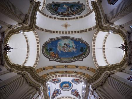 Peschiera Del Garda, October 01: Wide angle view on ceiling of San Martino church on October 01, 2017 in Peschiera Del Garda, Italy. Editorial