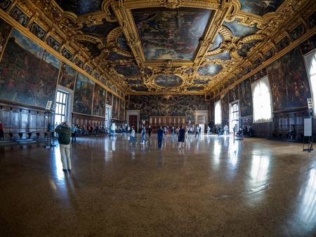 Venice - October 04: Wide angle view on Palazzo Ducale on October 04, 2017 in Venice.