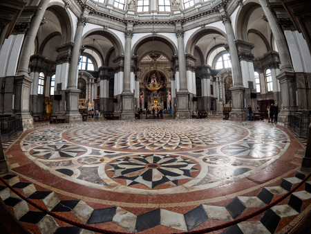 Venice, Italy - October 05: a wide angle view in the famous Santa Maria della Salute church on October 05, 2017 in Venice, Italy. Editorial