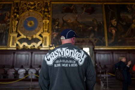 Venice - October 04: Unidentified vistor of Palazzo Ducale with Gas Monkey shirt on October 04, 2017 in Venice.