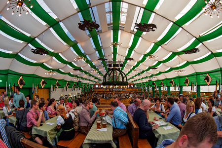 Munich, Germany - September 21: Tent on the Oktoberfest on September 21, 2015 in Munich, Germany.