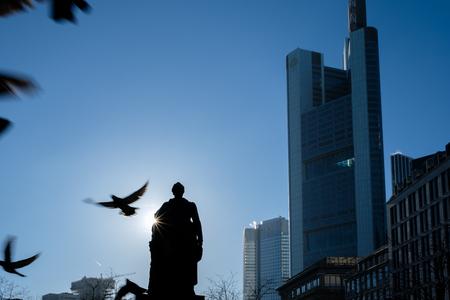 Frankfurt, Germany - December 03: Citybank with flying pigeons on December 03, 2016 in Frankfurt, Germany. Editorial