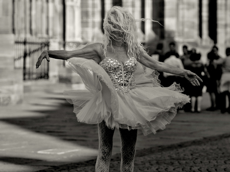 Strasbourg, France - June 19: Unidentified female performer dances in front of Notre Dame on June 19, 2014 in Strasbourg, France.