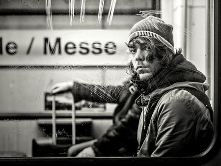 Frankfurt, Germany - January 09: Unidentified man in metro on January 09, 2015 in Frankfurt, Germany. Editorial