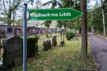 Frankfurt, Germany - November 19: Sign on the Frankfurt Hauptfriedhof on November 19, 2017. Standard-Bild - 90127222
