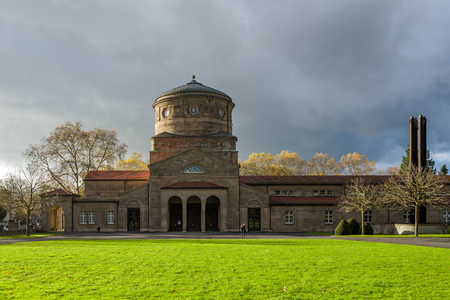 Frankfurt, Germany - November 19: The Trauerhalle on the Frankfurt Hauptfriedhof on November 19, 2017. Editorial