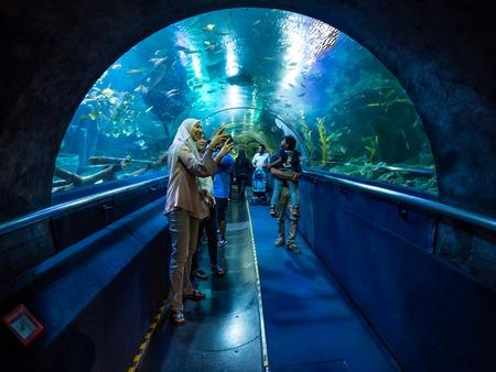 Kuala Lumpur, Malaysia - March 13, 2018: Tourists make photos of fish in the Aqua Park in Kuala Lumpur