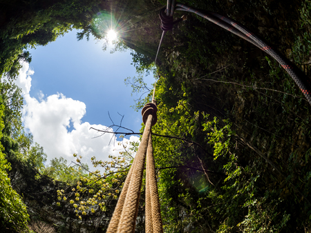 View to the sky at Goa Jomblang Tour near Yogyakarta, Indonesia Stock Photo