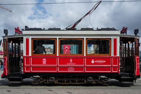 Istanbul, Turkey - May 20 2018: A vintage train in Istanbul Taksim area. Standard-Bild - 104687720