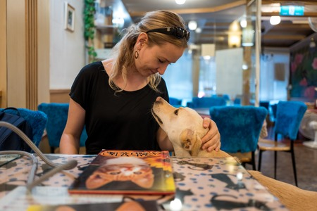 Caucasian girl with dog in cat and dog cafe in Taipei, Taiwan. Standard-Bild - 110039546
