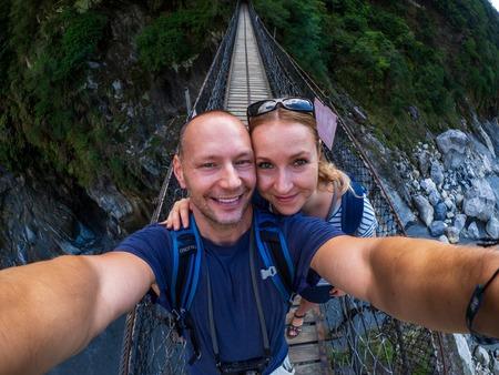 Caucasian couple at Taroko Gorge National park Banco de Imagens