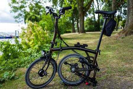 Hamburg, Germany - July 14, 2018: The Brompton black lacquer edition bike in Hamburg.