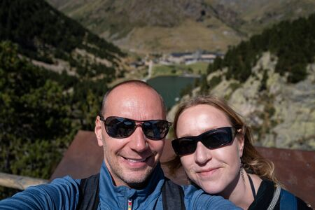 A couple doing a selfie in the pyrenees in Spain