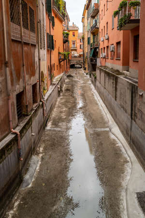 a canal without water in Bologna Stock Photo