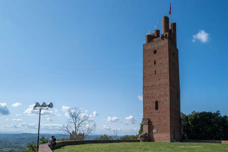 The Federico Tower in San Miniato with a couple