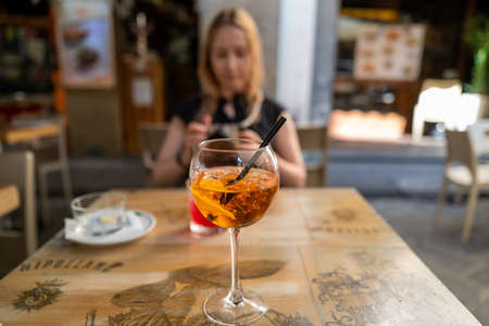 A glass of Spritz in a cafe in Florence