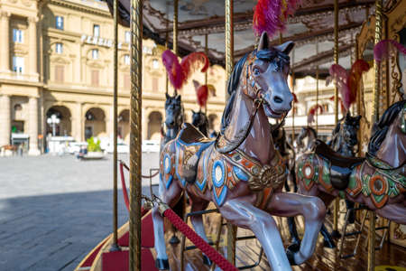 a horse on a merry-go-round in Florence Standard-Bild