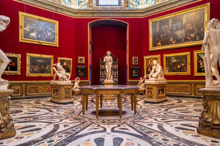 Florence, Italy - September 23, 2020: The tribune room in the Uffizi gallery in Florence.