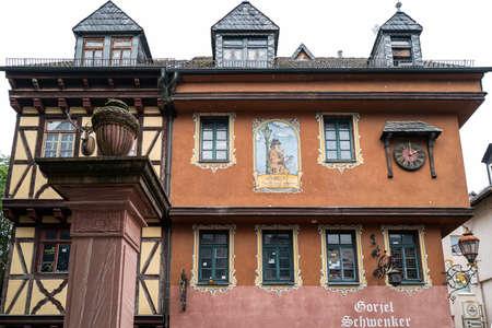 Frankfurt, Germany - July 17 2019: The famous Gorjel Schwenker house in Frankfurt.