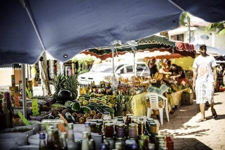 Local food and spice market in Guadeloupe, West indies Stock fotó